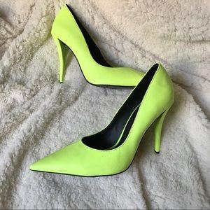 Zara Neon Yellow-Green Pumps